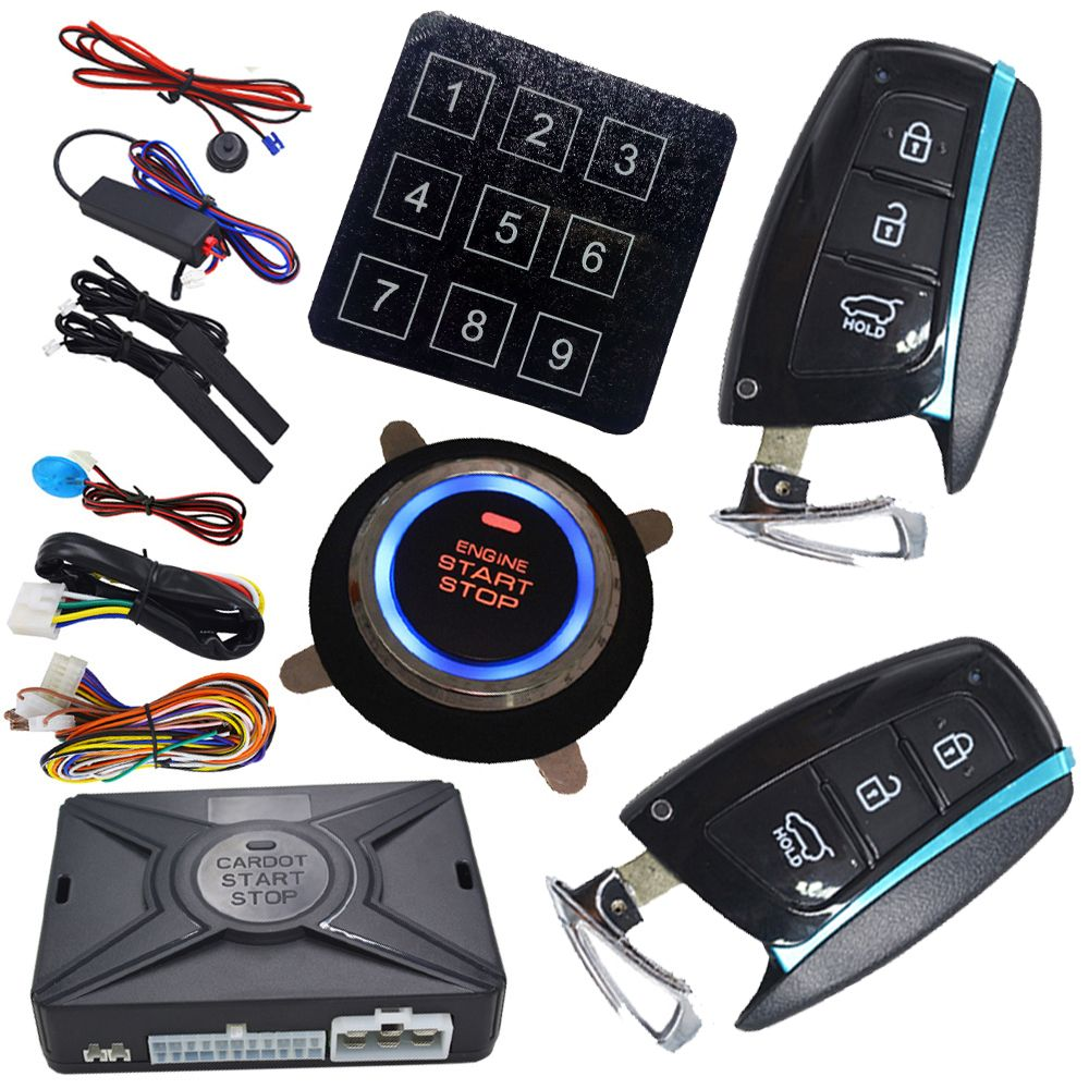 keyless entry engine start stop button side door alarm and