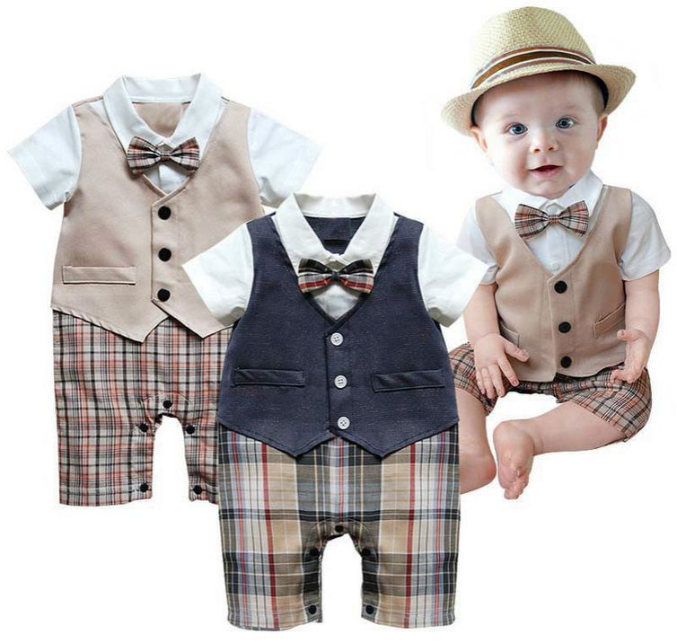 1pcs Baby Boys Infant Gentleman suit bodysuit with tie Rompers ...