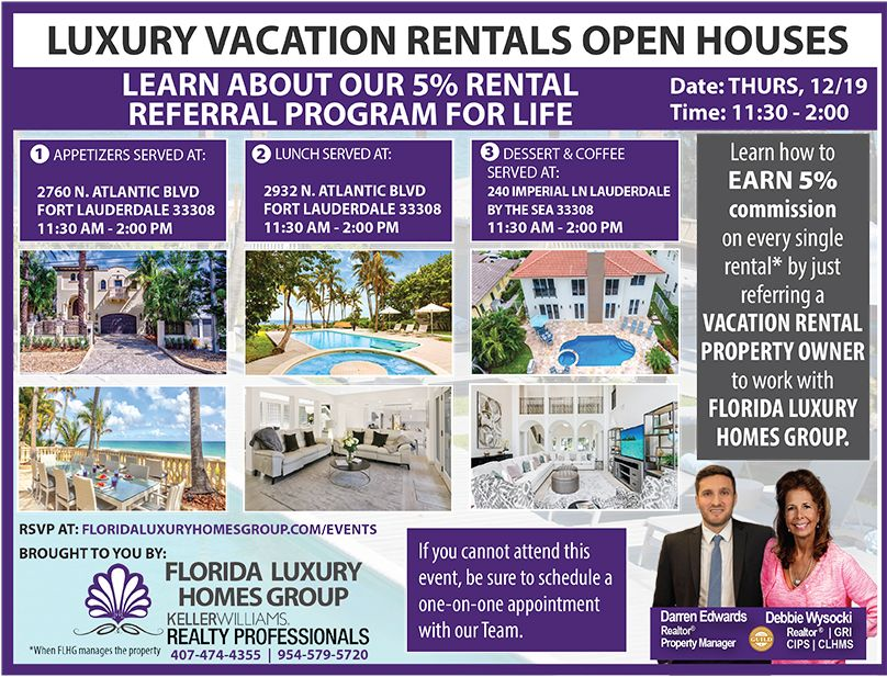 Events Luxury vacation rentals, Open house, Vacation rental