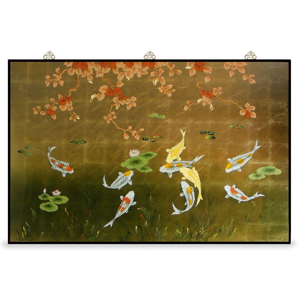 Gold Leaf Prosperity Koi Fish Panel | Asian Decor | Pinterest | Feng ...
