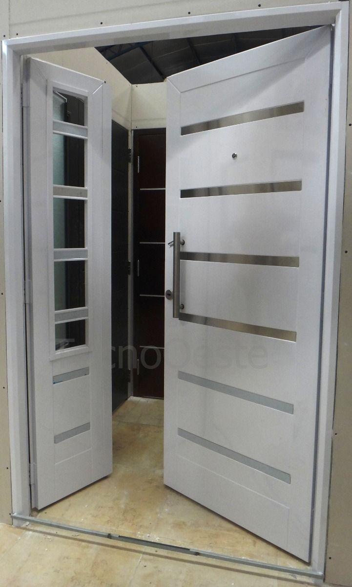 Puerta y media residencial vidriada blanca premium 120x200 for Puertas dobles para exterior