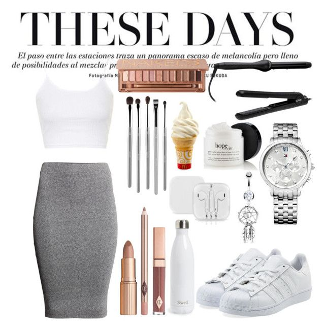 """More white"" by rowan-na-daw ❤ liked on Polyvore featuring H&M, Bling Jewelry, Lorion, adidas Originals, Tommy Hilfiger, Topshop, Urban Decay, esum and S'well"