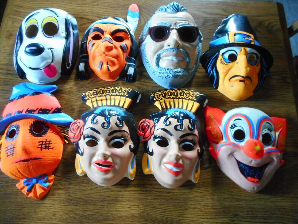 Lot 8 Vintage Halloween Masks 1950 S Clown Snoopy Dog Indian Scare