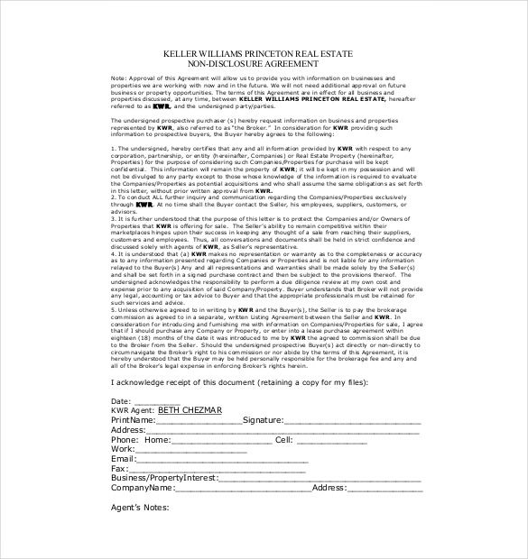 Free Real Estate Non Disclosure Agreement Template Download Sample