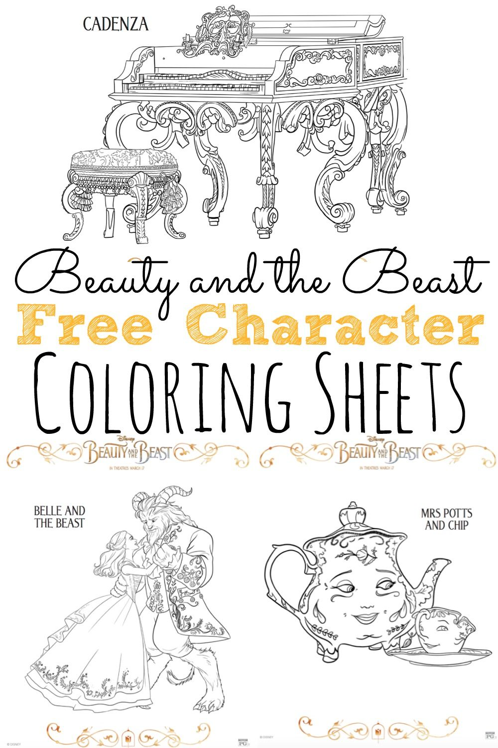 Free Beauty And The Beast Coloring Pages BeautyAndTheBeast