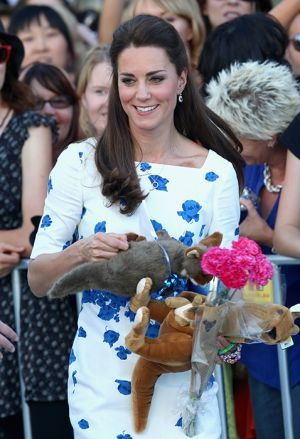 Kate Middleton, the Duchess of Cambridge, in a LK Bennett blue and white Lasa Poppy print dress in Brisbane - April 2014 tour