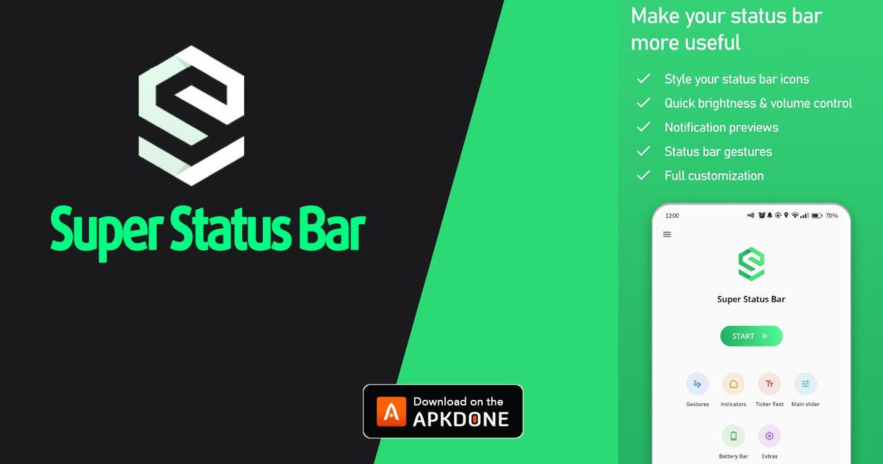 New Apk Super Status Bar Mod Apk 2 7 1 Premium Updated Modded Apkdone In 2020 Status Bar Icons Status Super