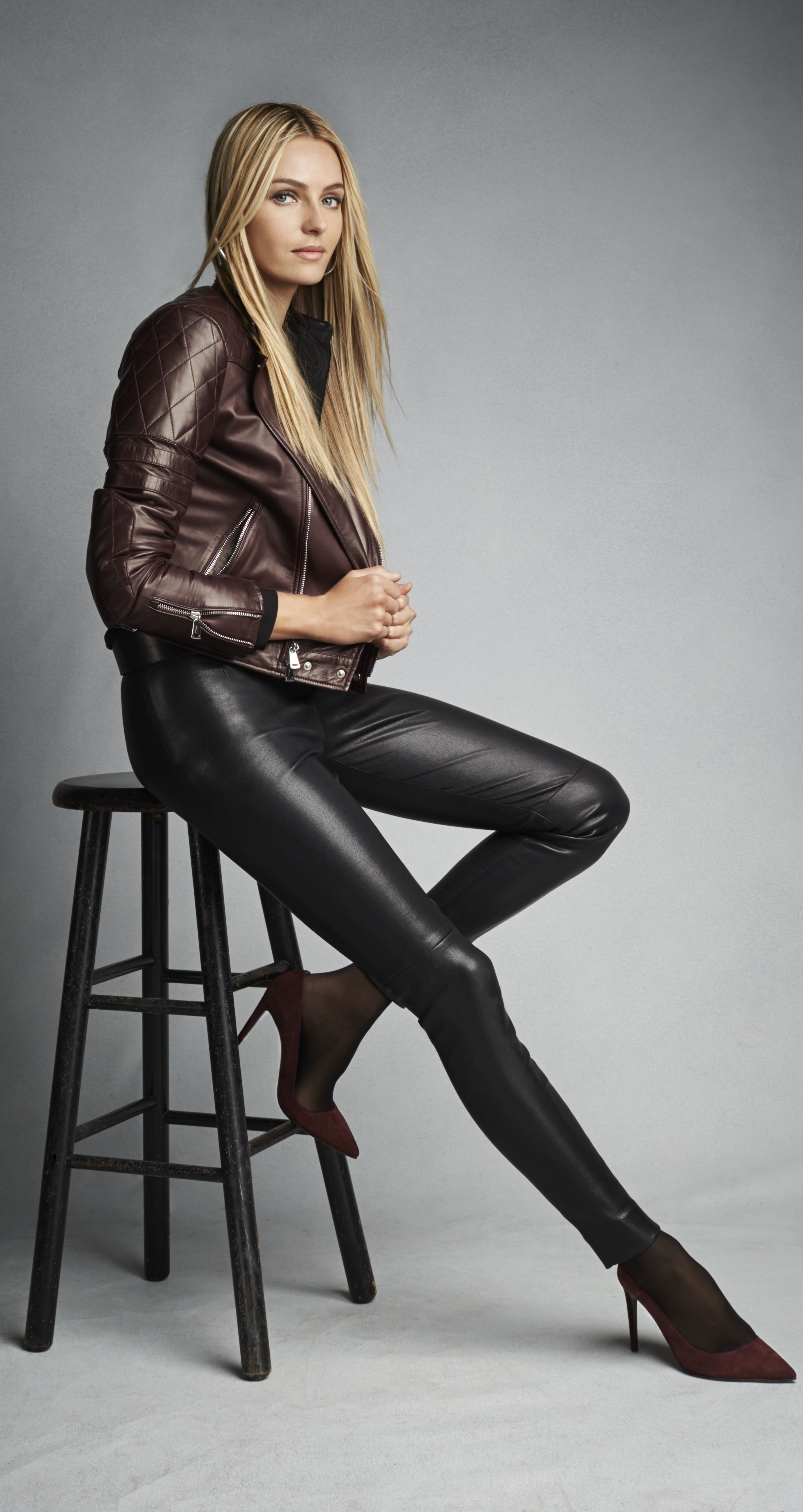 Ralph Lauren Black Label  Bordeaux biker jacket, stretch-leather pant and  suede pumps add depth to the season acdd71b08b