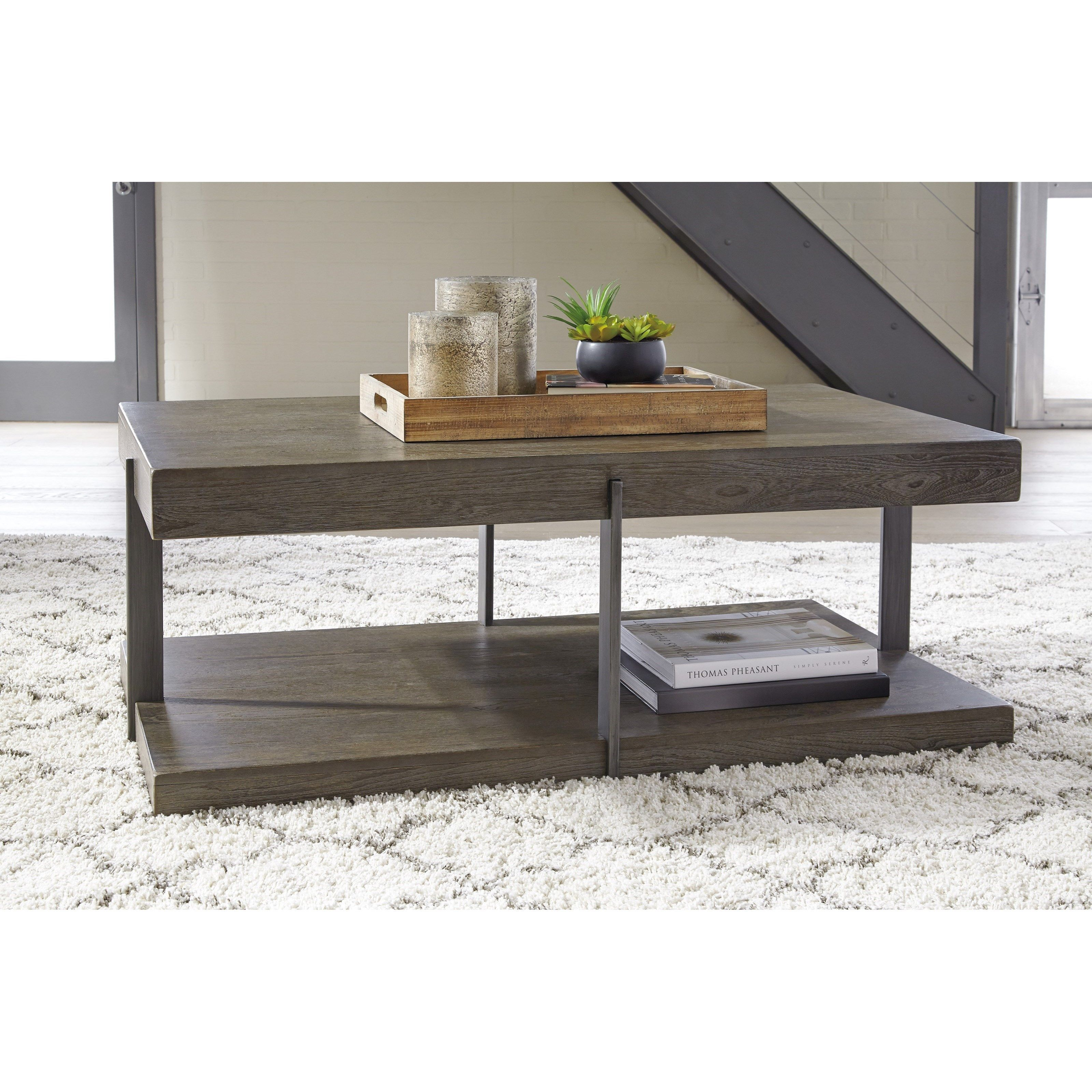 Signature Design By Ashley Gantoni Industrial Rectangular Cocktail Table -