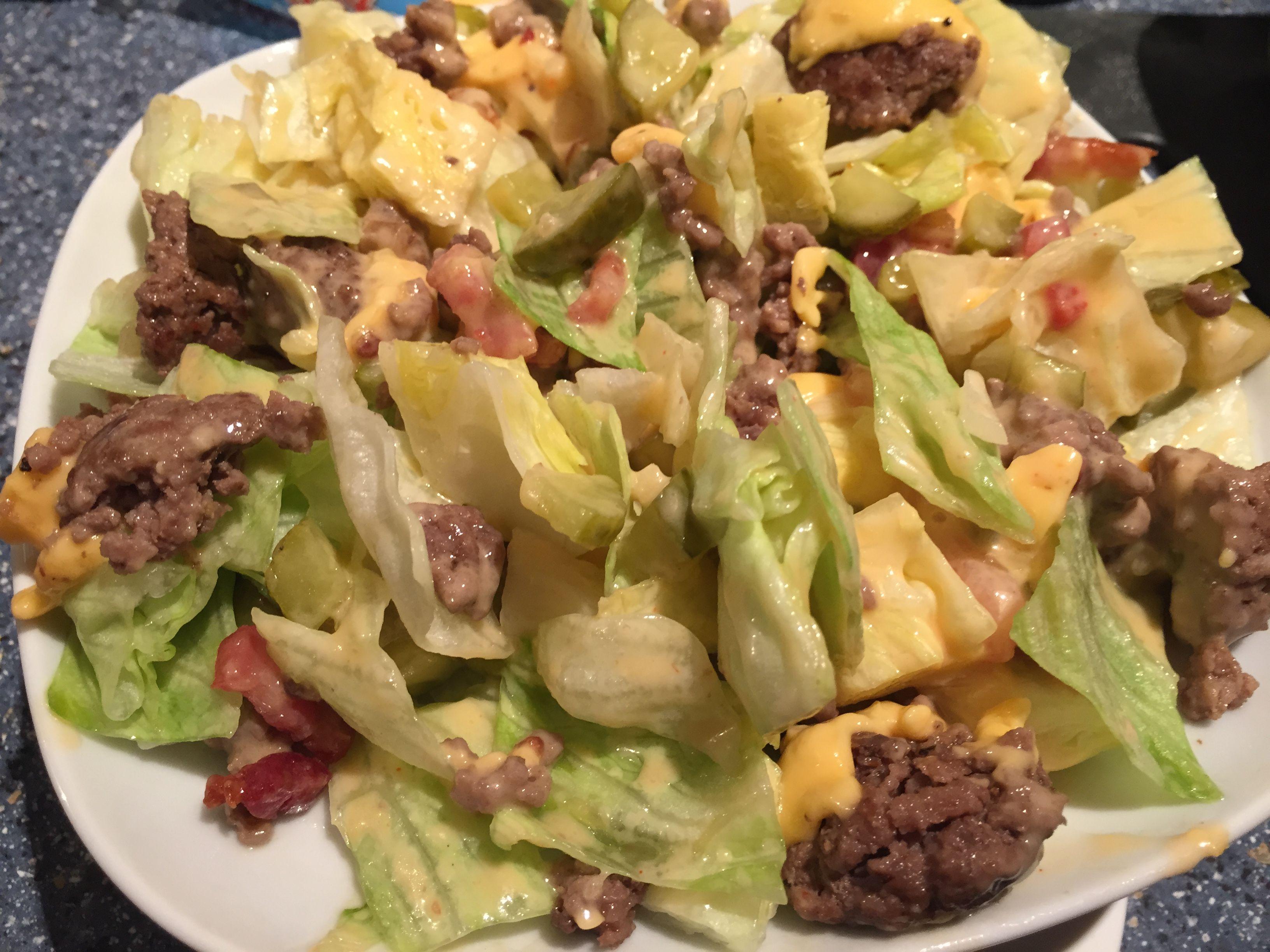 big mac salat rezept low carb und super lecker rezept salate. Black Bedroom Furniture Sets. Home Design Ideas