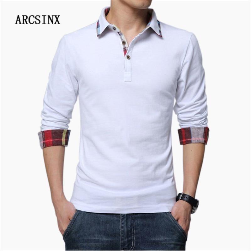 c1f259fb ARCSINX Polo Shirt Men Plus Size 5XL 4XL 3XL XXL Spring Long Sleeve Polo  Men Polo