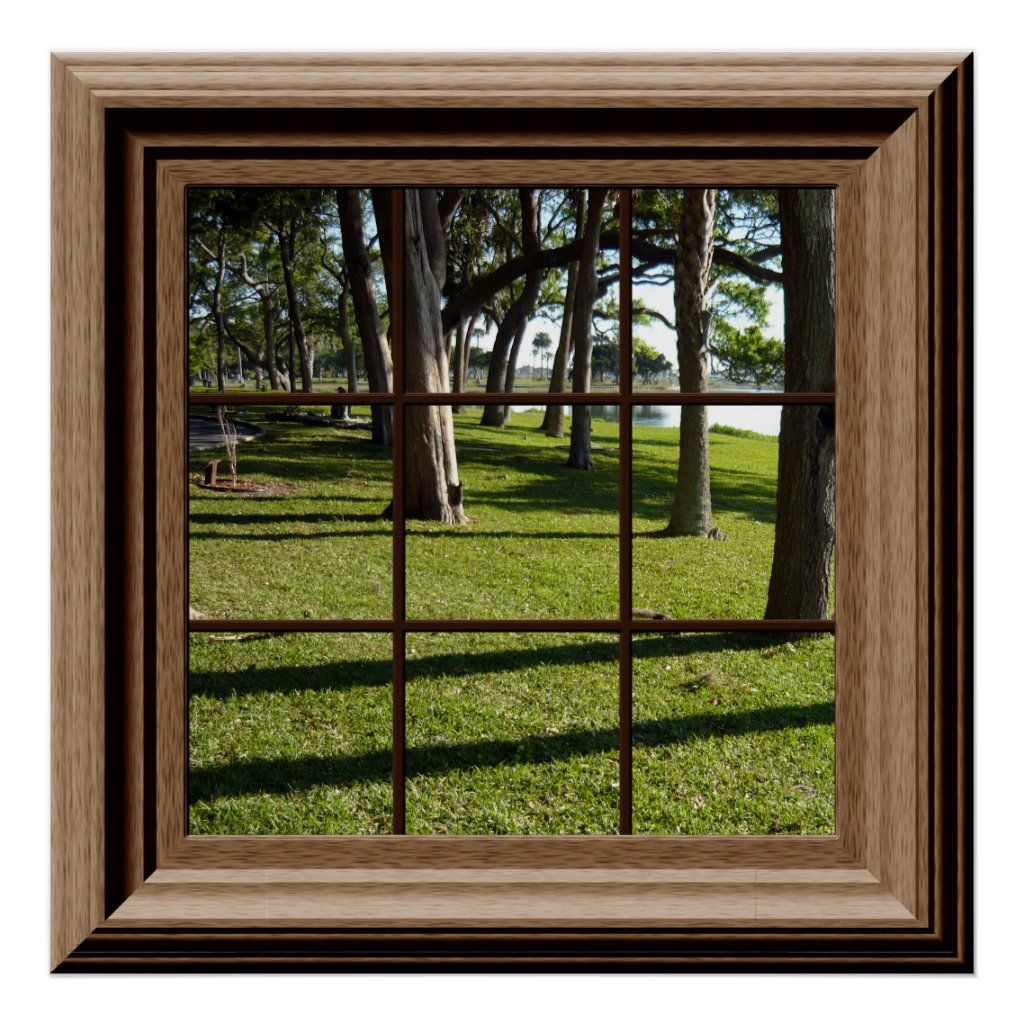 Faux window overlooking trees and green grass . For more faux window decor visit the rest of this shop.