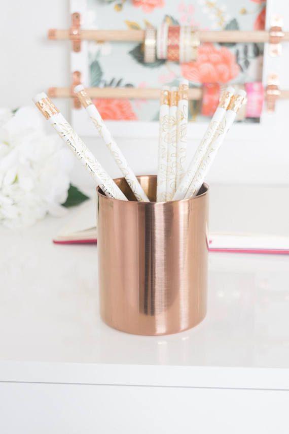 Rose Gold Pen Holder Desk Accessories Office Decor Planter Vase