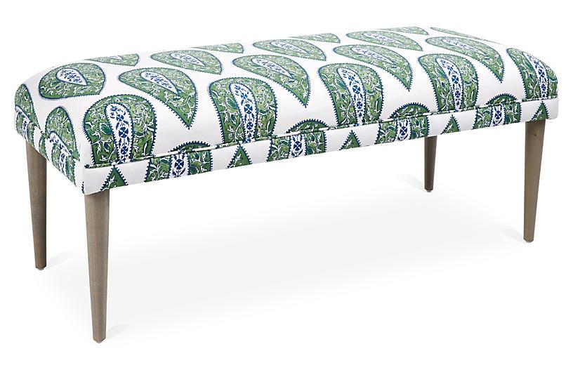 Incredible One Kings Lane Colette Bench Green Ikat Kates Living Inzonedesignstudio Interior Chair Design Inzonedesignstudiocom