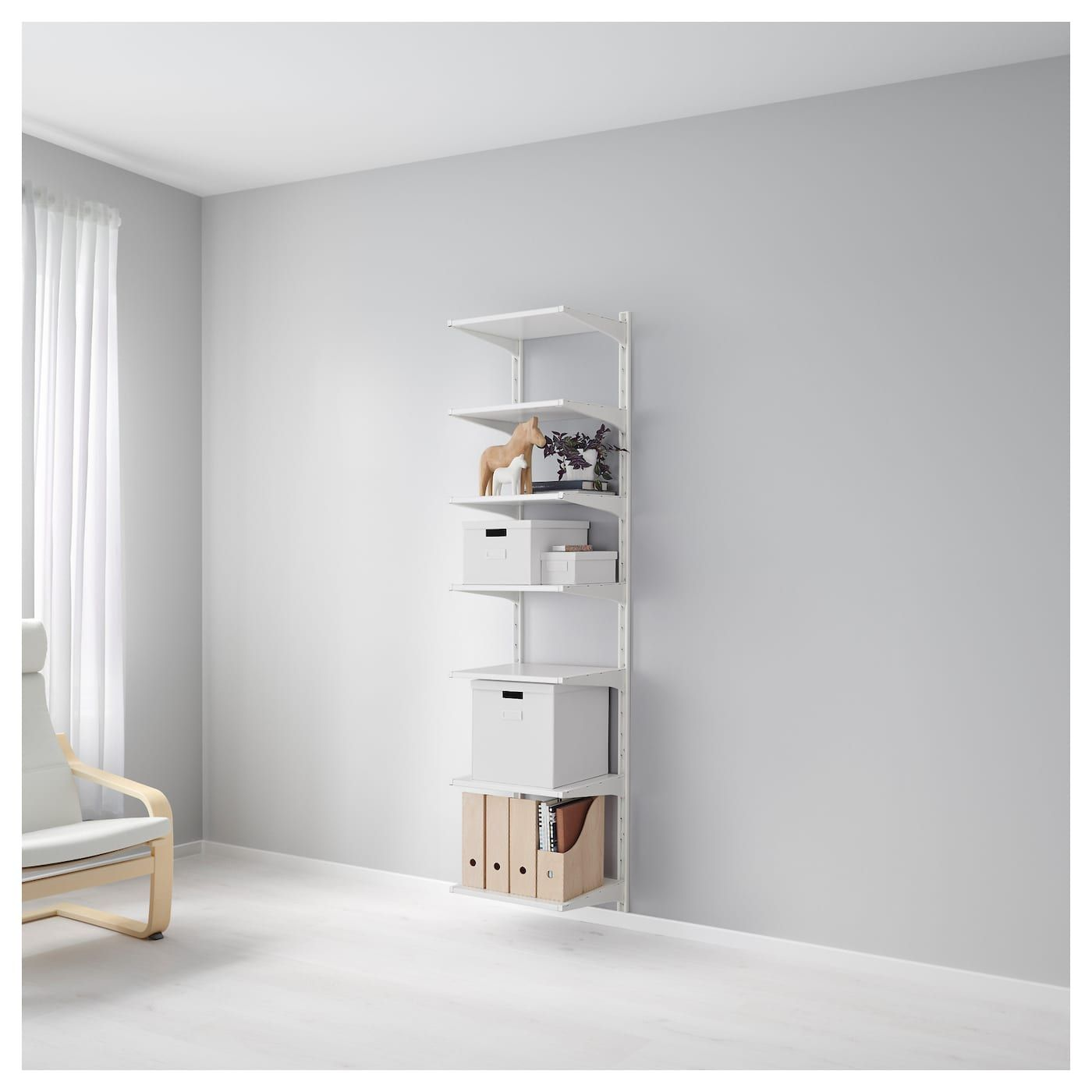Algot Wall Upright Shelves White 18 1 8x16 1 8x77 1 2 With