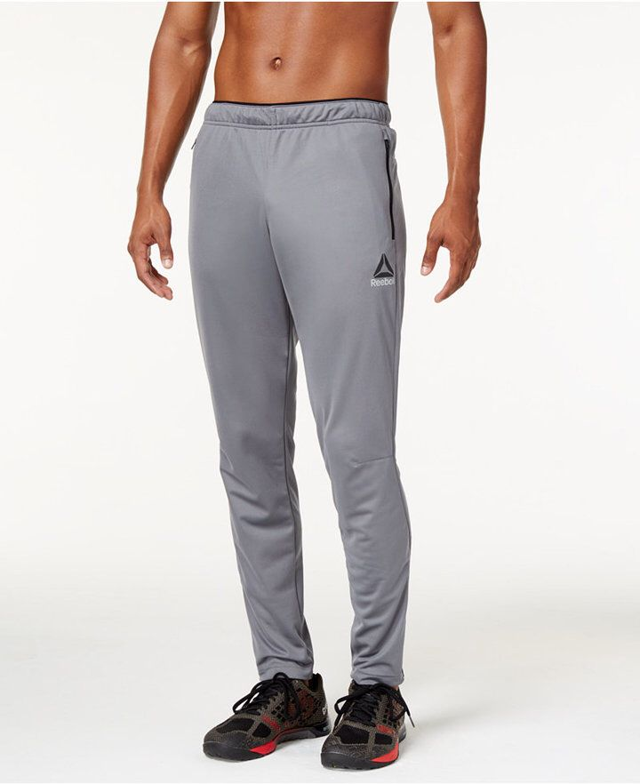Men's Reebok Track pants, slim fit track pants, training sweats, running sweats, soccer, futsal, moisture wicking, breathable, moisture wicking, athletic wear, gym wear, men's fitness, sports wear, health wear, weight loss wear, activewear, Crossfit