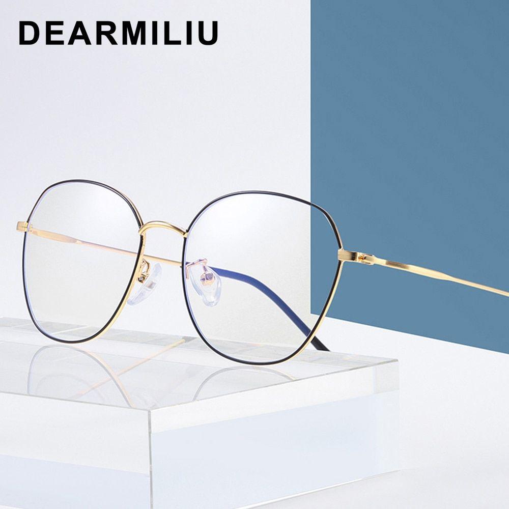 Dearmiliu Oval Frame Rose Gold Anti Blue Light Blocking Glasses