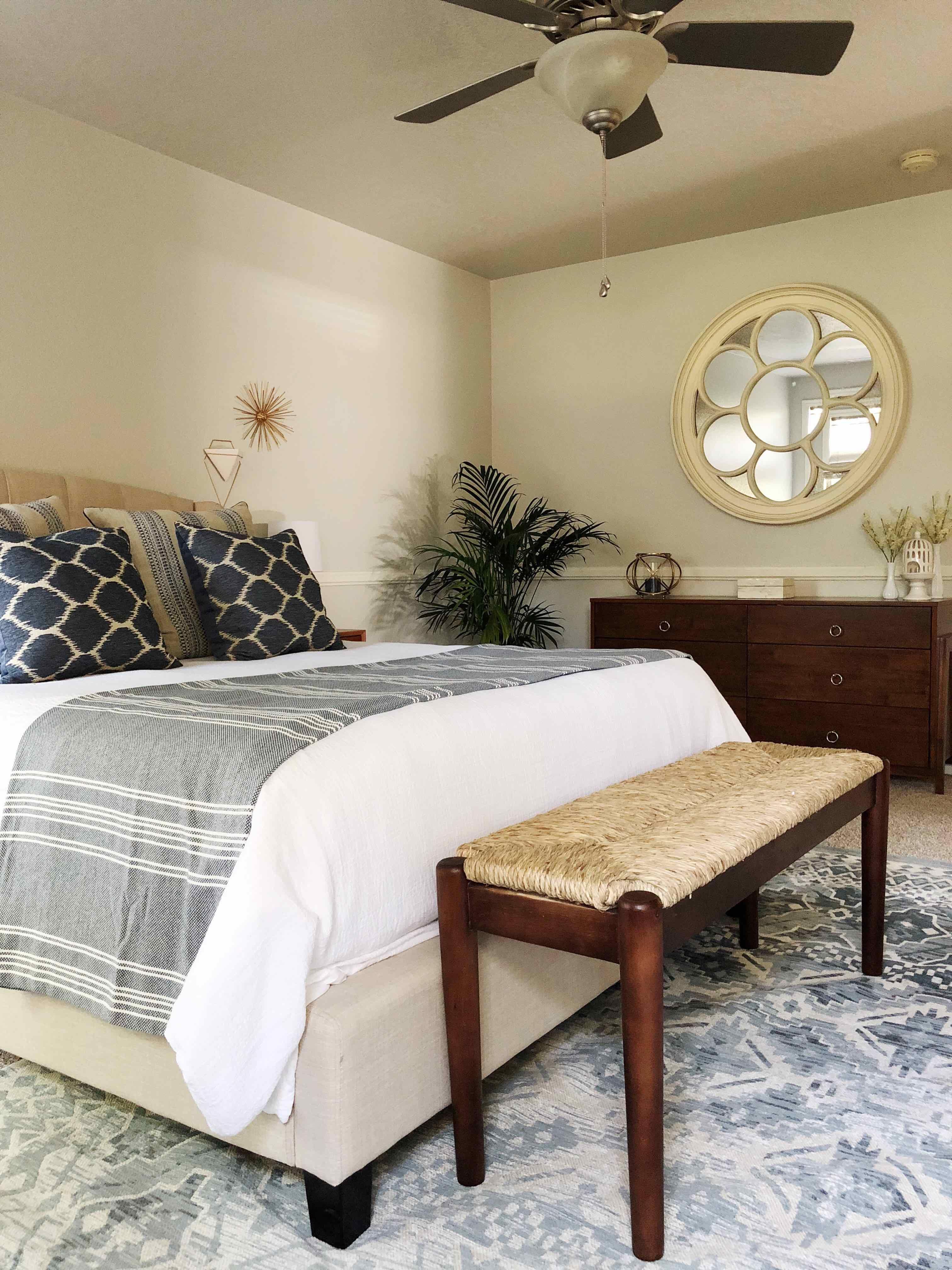 A Serene, Mid Century Modern, Coastal Style Master Bedroom