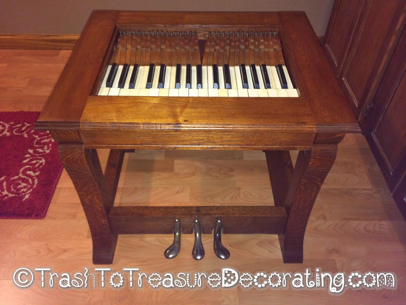 An end table made from old piano parts. Trash to Treasure Decorating: What  to