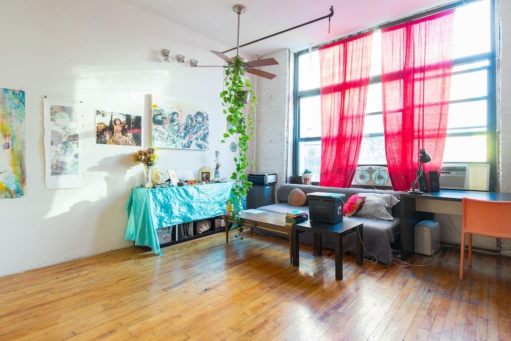 Sunny Art Loft in Bushwick, Brooklyn + 1 Cute Cat - Lofts