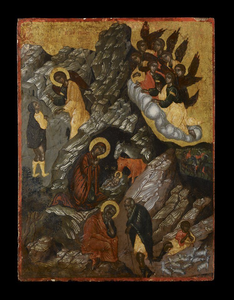 Icon with the Nativity of Christ; egg tempera on wood with linen and gesso.