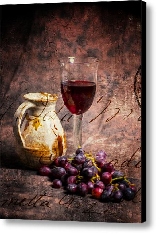 Wine Glass Grapes And Jug In Portrait Format Canvas Print / Canvas Art By Paul Cullen