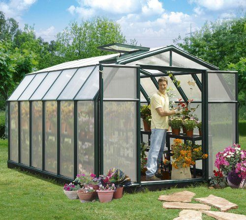Hobby Gardener Greenhouse 8 6 X 8 6 Green Frame Premium Package By Rion 1903 48 1 Base Kit 1 Ro Best Greenhouse Polycarbonate Greenhouse Home Greenhouse