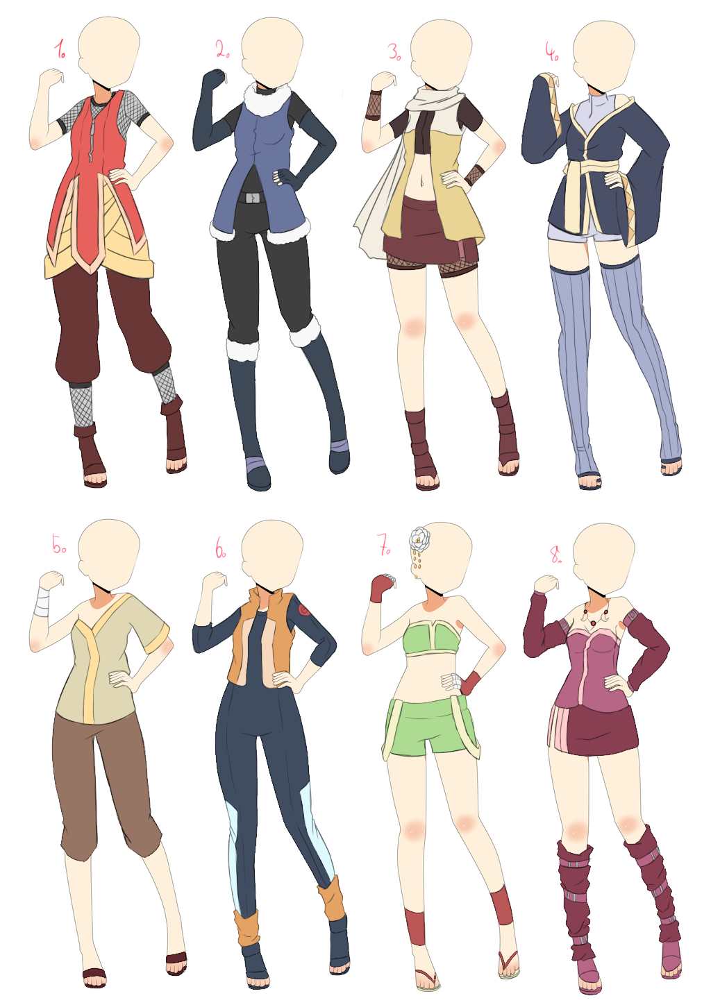 Open Naruto Outfit Batch 2 By Azahana On Deviantart Anime Outfits Ninja Outfit Drawing Anime Clothes