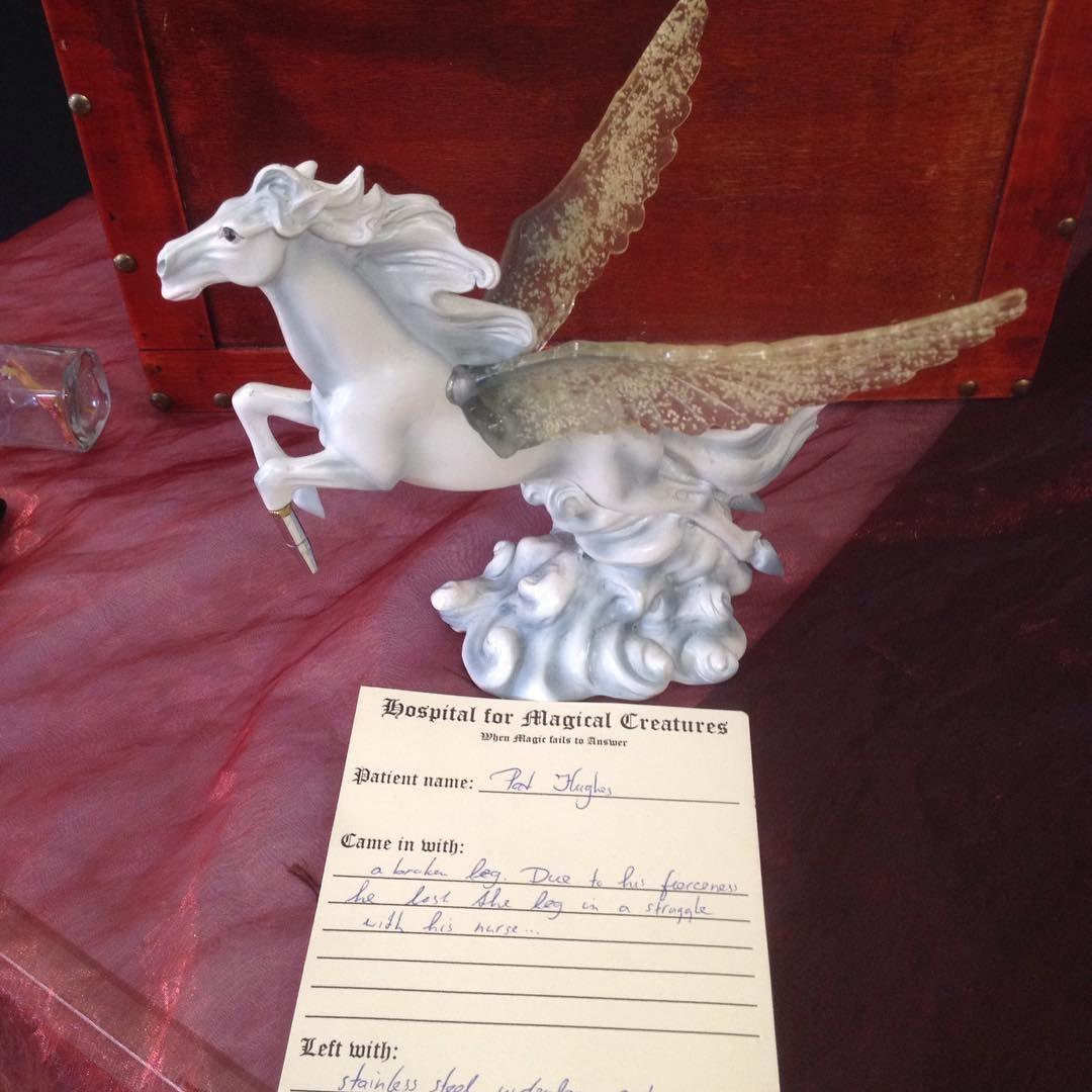 Prostherics for magical creatures Pegasus with metal leg peg.