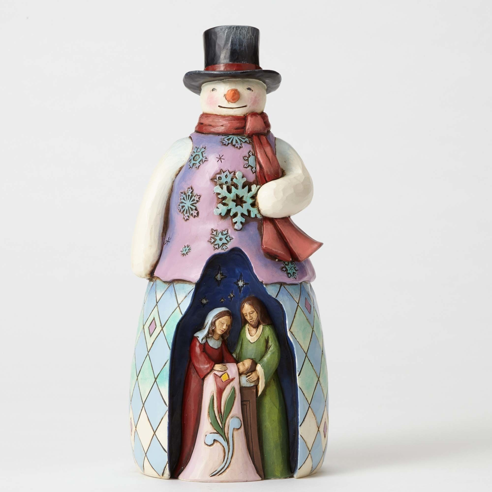 Home interior masterpiece figurines cold night warm miraclesnowman with holy family scene figurine