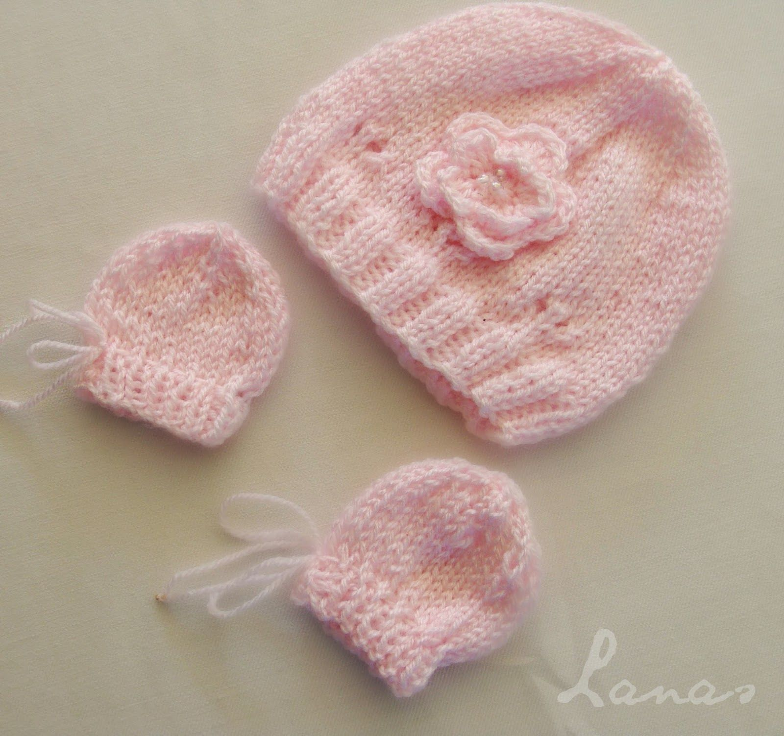 Lanas de Ana: Baby Hat and Mittens