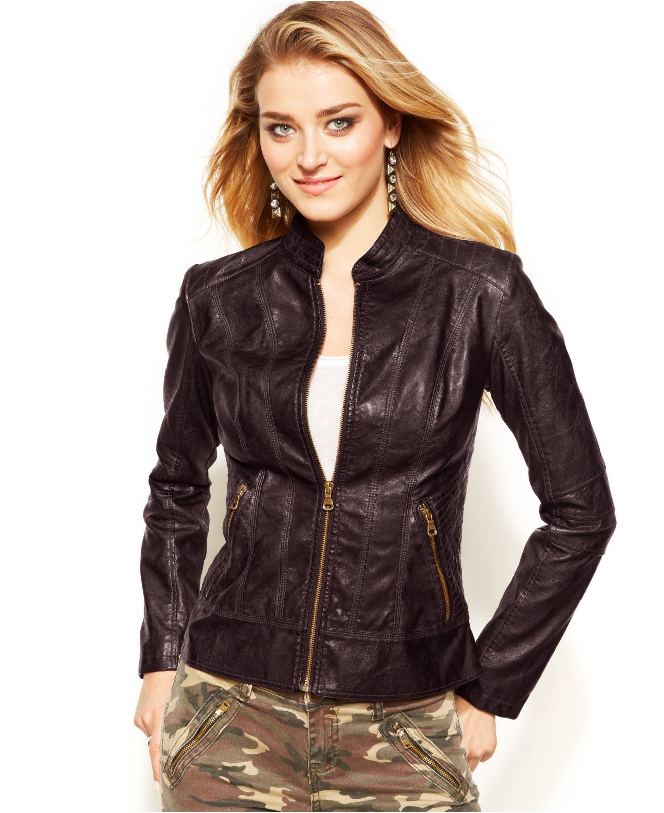 Guess Faux Leather Jacket Coats Women Macy S Blazer Jackets For Women Leather Jacket Fashion [ 1616 x 1320 Pixel ]