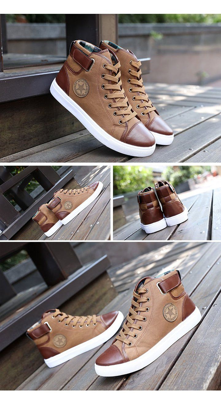 Men High Top Canvas Patchwork Shoes is part of Shoes - Lace up closure Fits true to size Canvas lining material Casual, leisure shoes style Solid plain pattern Round toe Rubber out sole material Breathable feature Canvas upper material PU insole material Basic shoes Flat heel