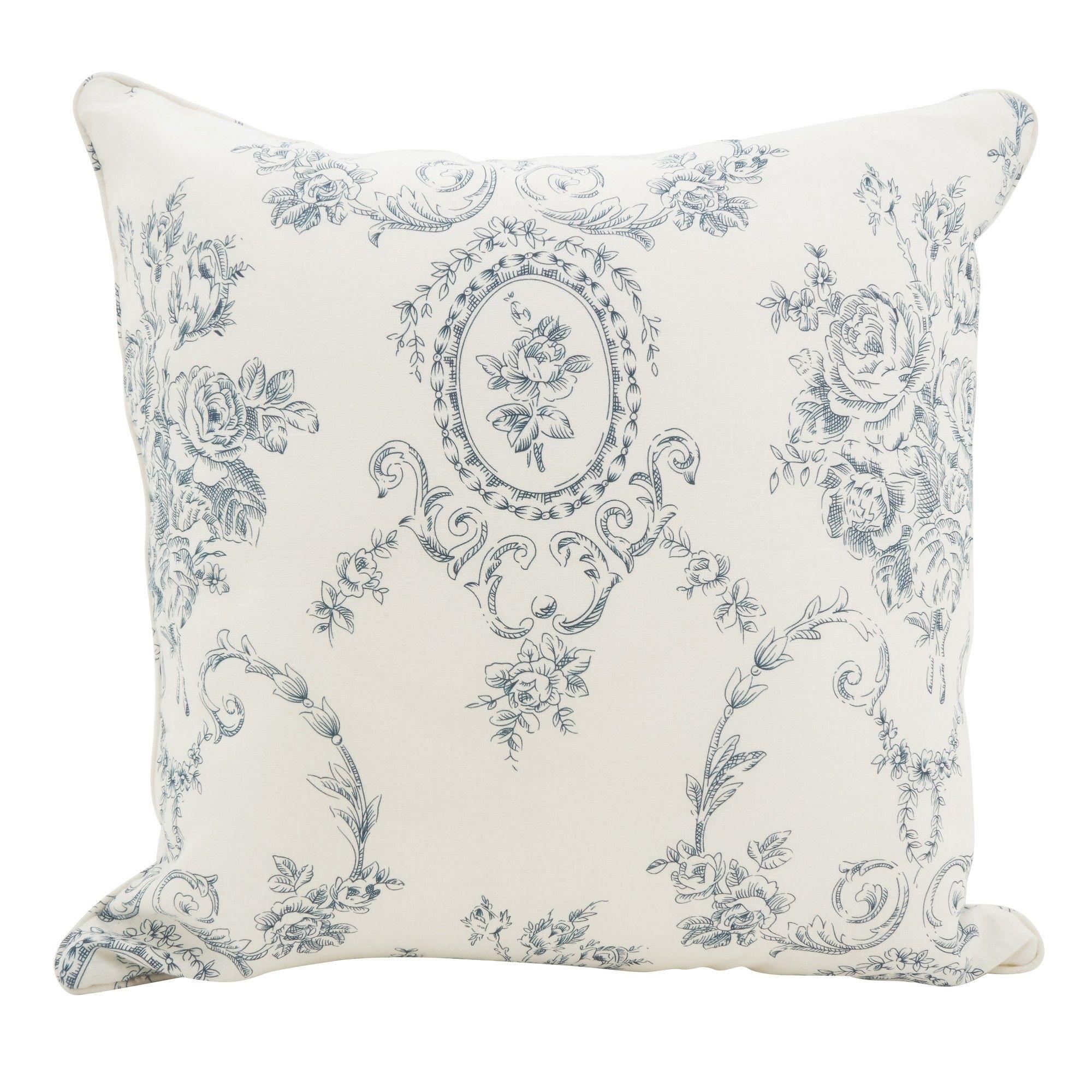 Saro Lifestyle 20X20 Floral Fancy Linen Down Filled Throw Pillow