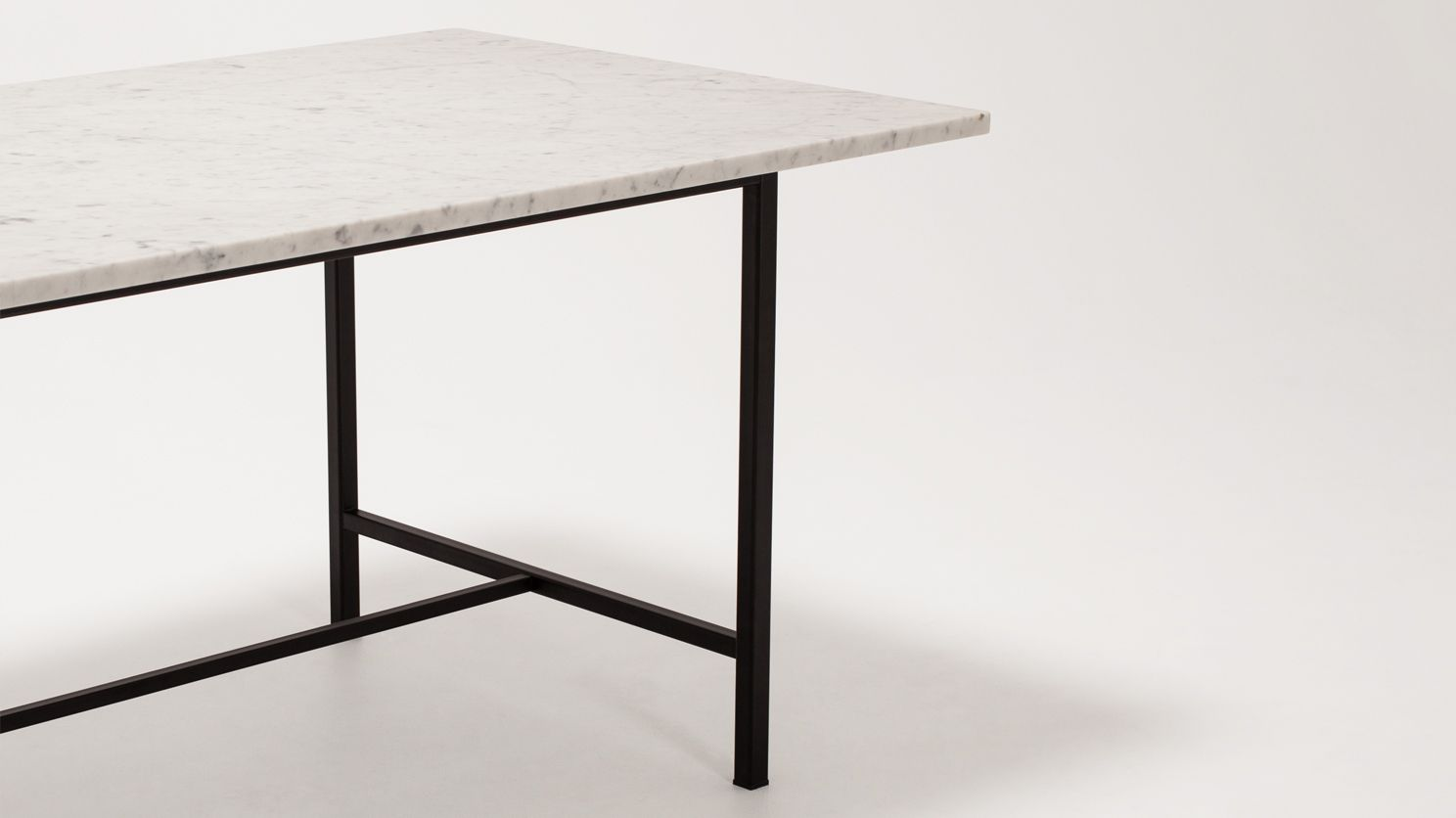 Modern Marble Top Dining Table - Kendall custom dining table 66 marble top eq3 modern furniture
