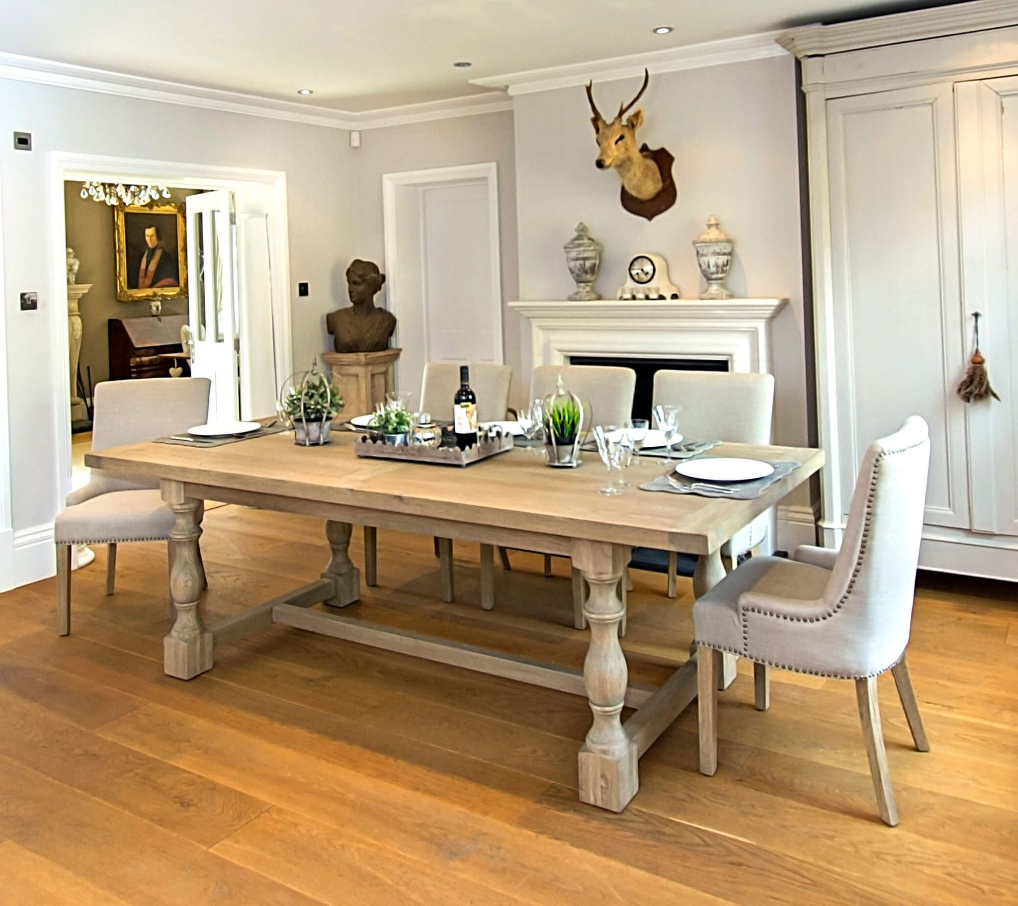 Montague Large Weathered Oak Rectangular Dining Table Large