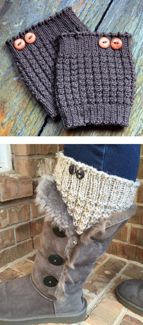 Free Knitting Pattern For Easy 3 Row Repeat Thermal Boot Cuffs