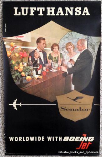 c1950 LUFTHANSA Boeing Original Vintage Travel Poster German Deutsche Airline