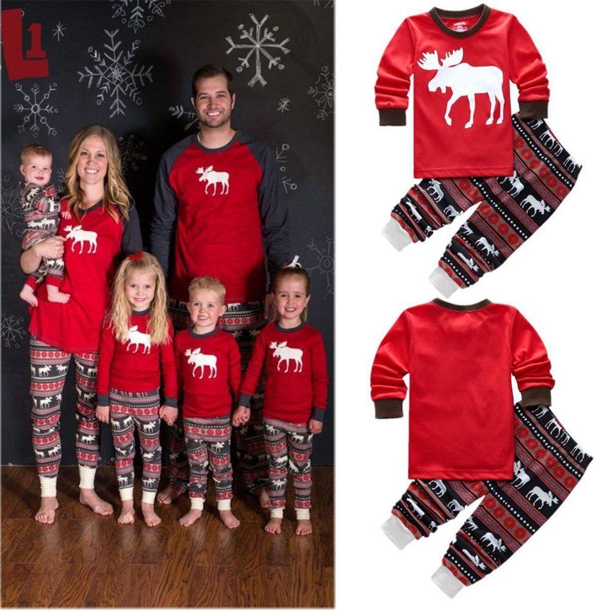 03761ed715  5.99 - Christmas Family Matching Pajamas Set Deer Kids Baby Adult Sleepwear  Nightwear  ebay  Fashion