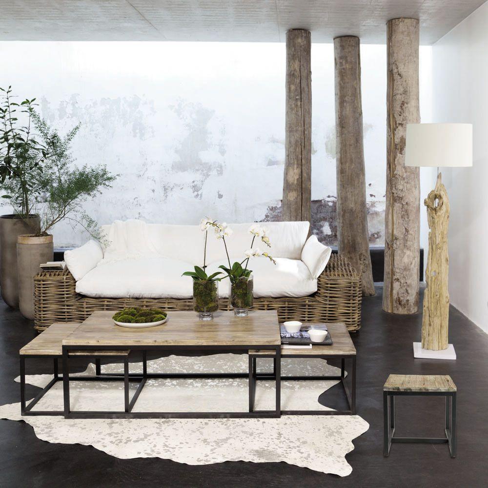 Tables gigognes indus en sapin massif et métal | Maison du monde ...