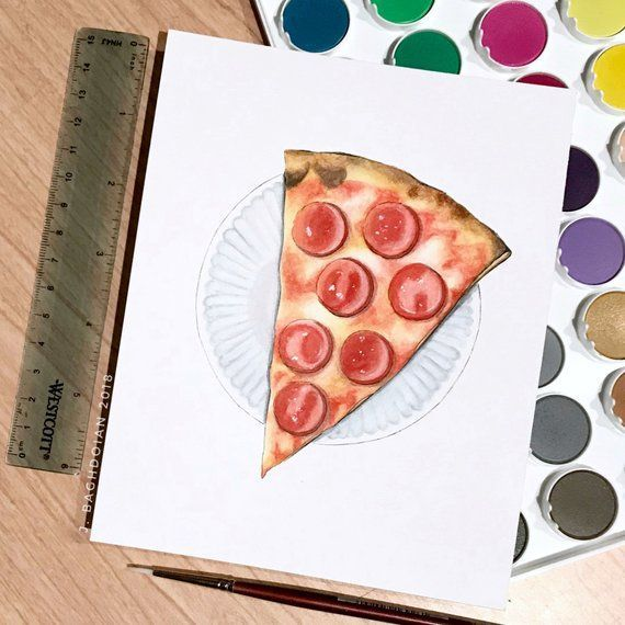 Pepperoni Pizza Original Watercolor Painting - Food Illustration - Kitchen Home ...,  Pepperoni Pizza Original Watercolor Painting - Food Illustration - Kitchen Home ...,