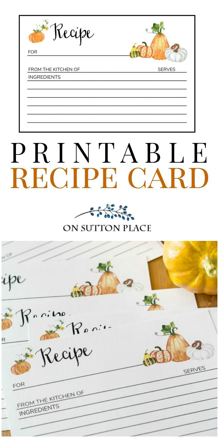 Fall Recipe Card Printable Free Instant Download On Sutton Place Recipe Cards Printable Recipe Cards Recipe Cards Template