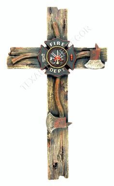 Fireman Decorative Wall Cross Axe Fire Department Emblem Firefighter Decor 20x11
