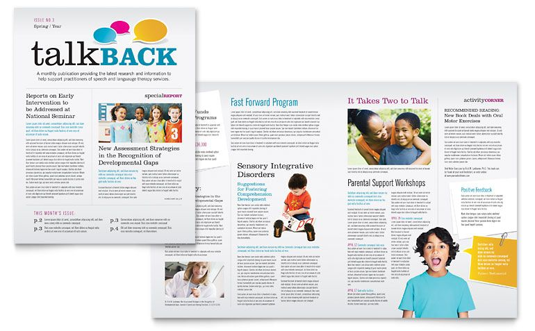 Speech Therapy Newsletter Template Design  Newsletters