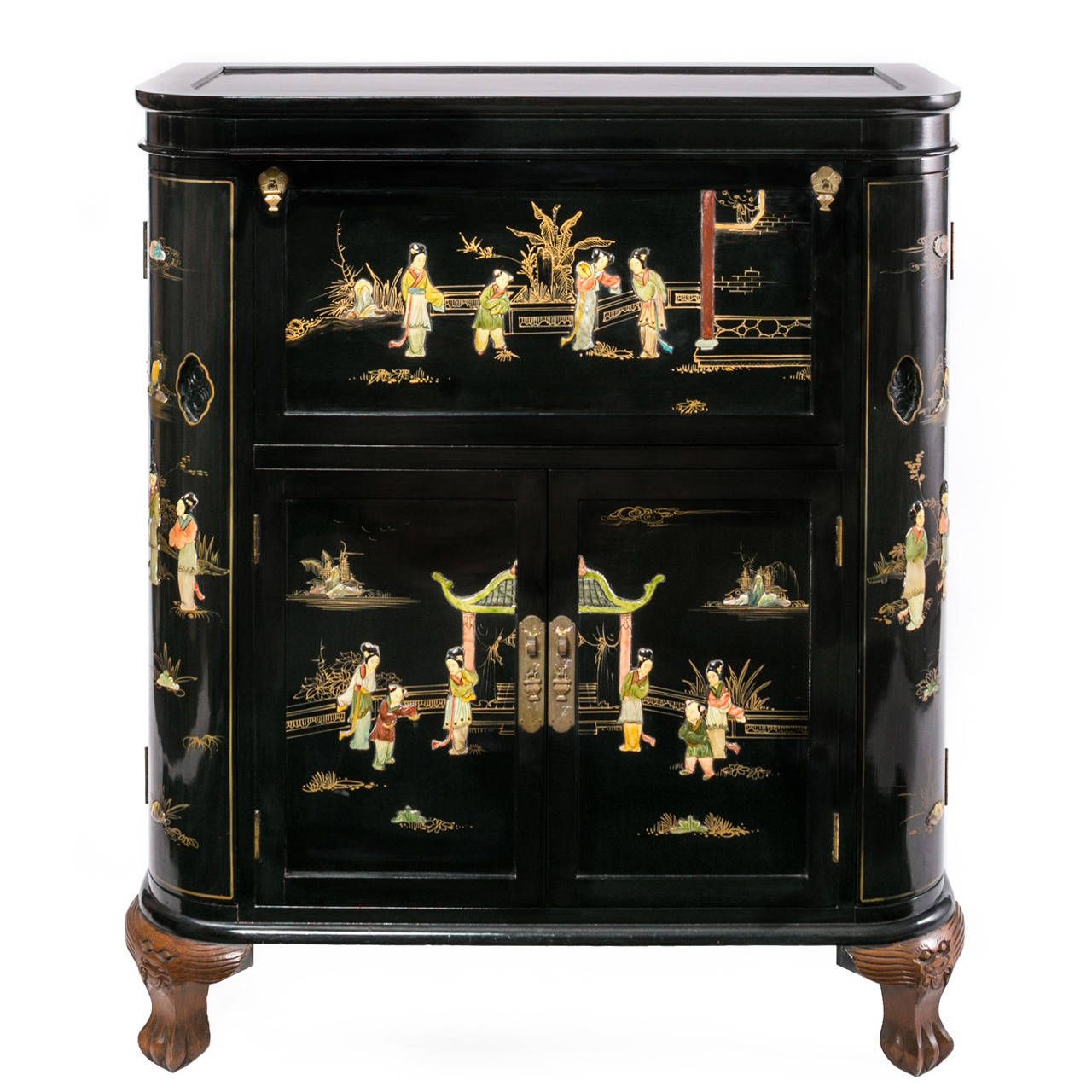 Regency Black Lacquer Chinoiserie Claw Foot Drinking Cabinet - Regency Black Lacquer Chinoiserie Claw Foot Drinking Cabinet