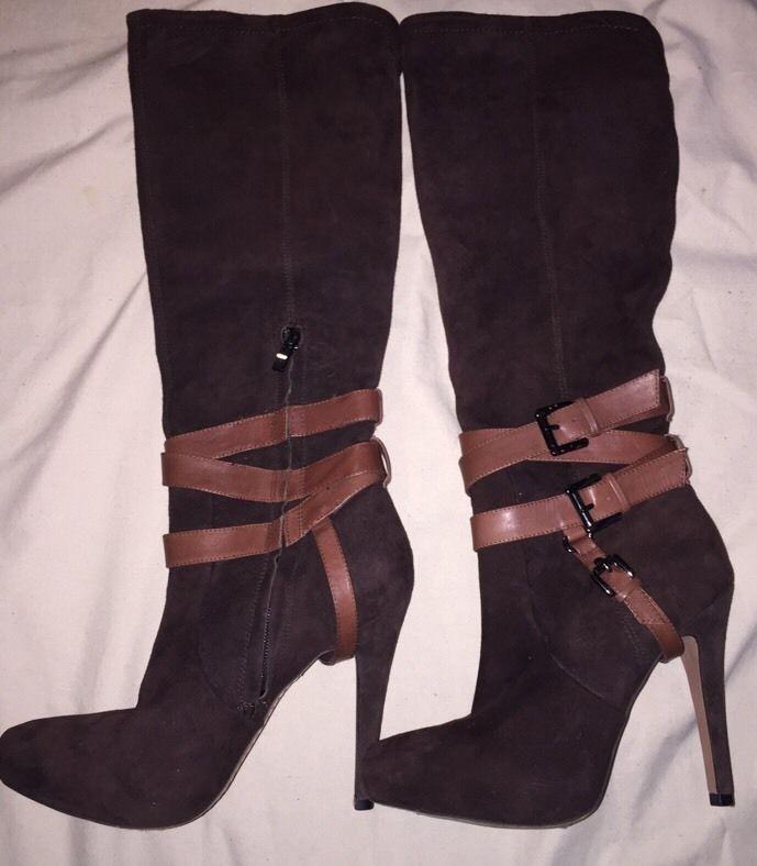 Sam Edelman Brown Suede Tall Boots with Heel Size 6 1/2 6.5 #SamEdelman #KneeHighBoots