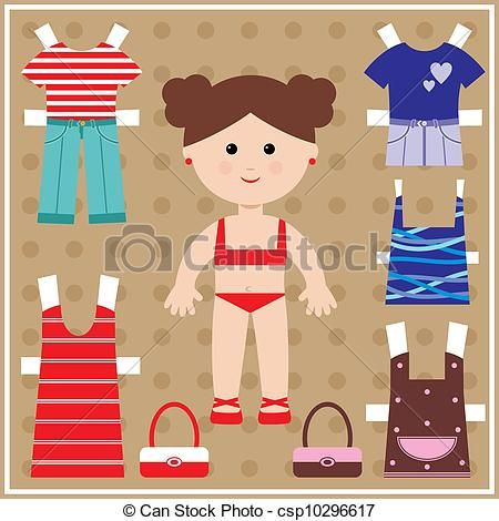 Paper doll with clothes set - csp10296617