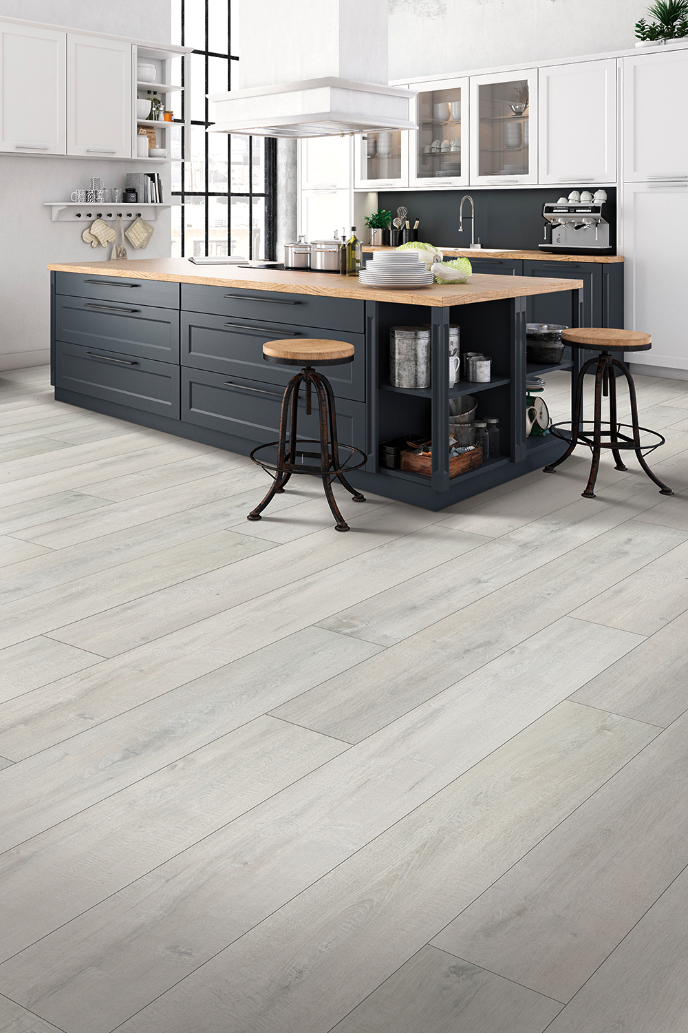 Denali Oak Quick Step In 2020 Grey Kitchen Floor Grey Laminate Flooring Kitchen Grey Laminate Flooring