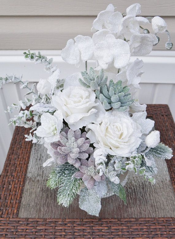 Christmas Arrangement Center Piece Home Decor Snow Flowers Silk Floral Arrangement Table Christmas Arrangements Silk Floral Arrangements Christmas Floral
