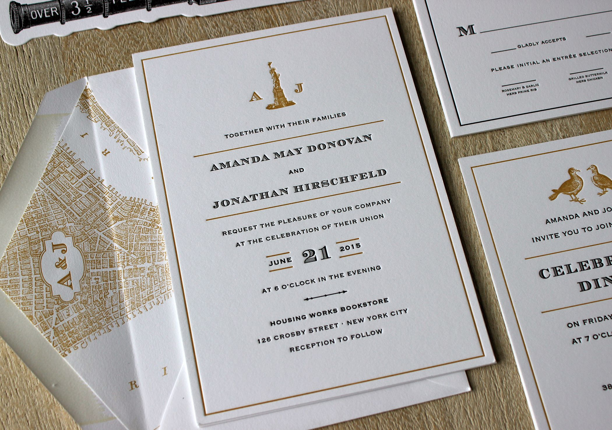 NYC Vintage letterpress wedding invitation by Sesame Letterpress